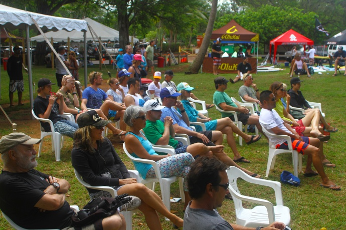 Crowds listening to pro talks at OluKai Ho'olaule'a Demo Day photo by Erik Aeder