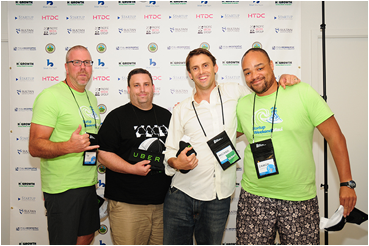 "The team of ""ticker!"" captured second place overall along with the audience's popular vote. Their start-up offers a social game for the stock market. Pictured left to right: Tim Christensen, Dwain Bethel, Michael Ross and Damon Garrison. Courtesy photo."