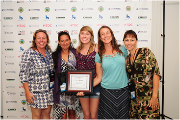 "Third place winner, the team of Waikapu Pickles, plan on bringing ""Pickles for the People!"" Pictured from left are Kim Scott, Tammie Evangelista-Mcguire, Victoria Alexa Scott, Jen Fordyce, and Elizabeth Smith. Photo by: Casey Nishikawa."