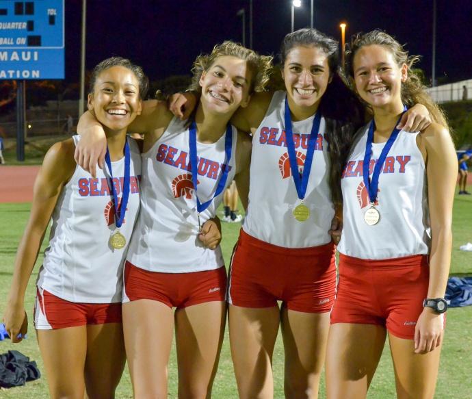 Seabury Hall's winning 4 x 400 relay team, from left, Alissa Walin, Jenna Carvalho, Kiana Smith and Ava Shipman. Photo by Rodney S. Yap.