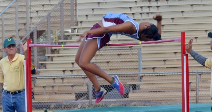 Baldwin's Noelle Johnson won the girls high jump at 5 feet, 1 inch. Photo by Rodney S. Yap.