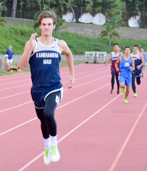 Kamehameha Maui's Keoni Frampton wins the boys 800-meter run Saturday. Photo by Rodney S. Yap.