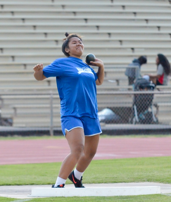 Maui High's Grace Fisher was a double winner in the shot put and discus. Photo by Rodney S. Yap.