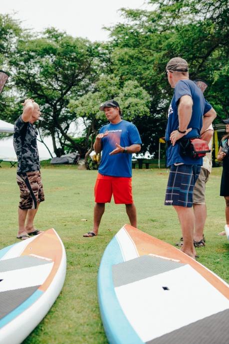Dave Kalama talking story at OluKai Ho'olaule'a photo credit to Mark Kushimi