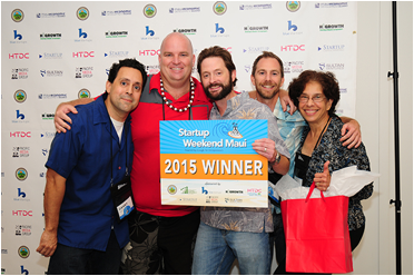 The team of Board.vote captured first place at the 2015 Startup Weekend Maui. Their startup offers a team voting solution for nonprofit leaders. Pictured from left: Danny Macias, Philip Heath, David Fry, Craig Wheeler and Tahi Reynolds. Photo by Casey Nishikawa.