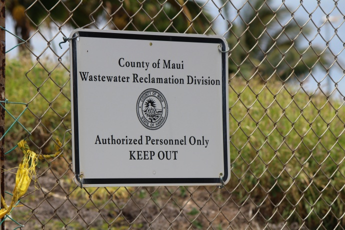 Wastewater Reclamation Facility sign, Maui. File photo by Wendy Osher.
