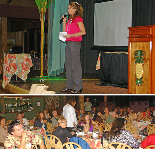 """The audience and the emcee Annette Lynch at the 2013 """"Masters of Retail Success on Maui."""" Image courtesy MBB."""