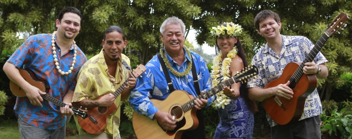 "George Kahumoku Jr. and his Slack Key show 'Ohana include (left to right) Garrett Probst, Peter deAquino, George Kahumoku Jr., Wanani Kealoha and Sterling Seaton. Courtesy photo.Peter deAquino, George Kahumoku Jr., Wanani Kealoha, Sterling Seaton) George Kahumoku Jr's ""What's New?"" Courtesy photo."
