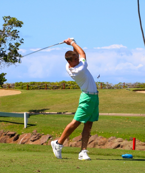 Brandon McIver tees off on the Royal Ka'anapali #4 hole – McIver who lead the first round in 2014, helped Oregon to the Team Championship win. Courtesy photo.