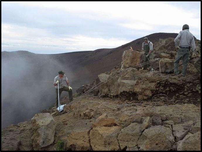 Pa Ka oao trail rehab. Photo courtesy Haleakalā National Park.