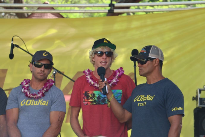 Post Race Poduim. 1st and 2nd place men OluKai Ho-+olaule-+a photo credit to Spencer Sheehan