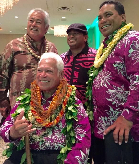 Lifetime Achievement Award recipient Richard Ho'opi'i (seated) and sons Rick (center) and Kai (right)  Ho'opi'i, with George Kahumoku Jr. (left). Courtesy photo.