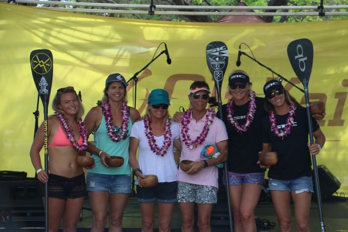 Women's elite SUP podium OluKai Ho'olaule'a photo by Spencer Sheehan.