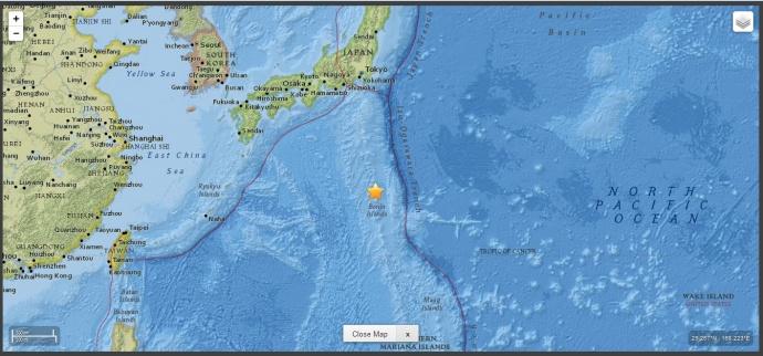 Bonin region of Japan earthquake, 5/30/15. Map courtesy USGS.