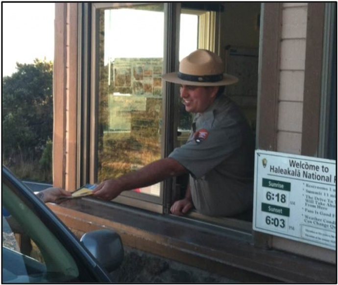 Park entrance fee station. Photo courtesy Haleakalā National Park.