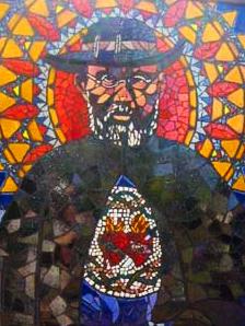 Father Damien stained glass window on Molokaʻi. File photo courtesy office of US Senator Mazie Hirono..