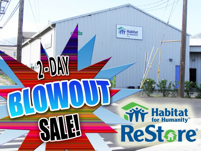 Habitat for Humanity Restore blowout sale. Graphics by Maui Now/ Wendy Osher.