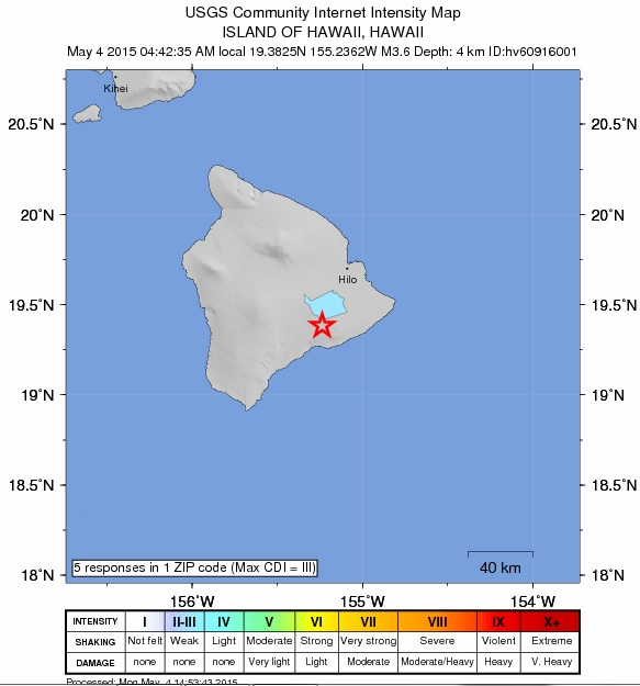 Hawaiʻi Island earthquake, May 4, 2015. Image courtesy USGS.