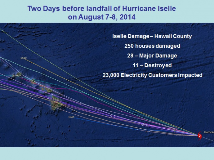 Two days before landfall of Hurricane Iselle, on August 708, 2014. Image credit: NWS/NOAA.