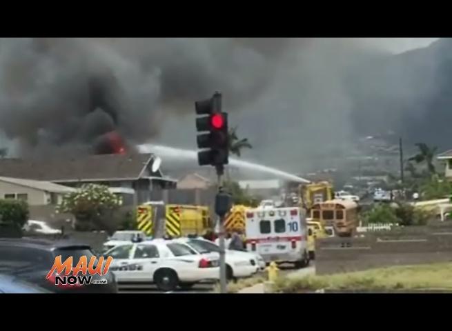 Kea Street home fire in Kahului. Photo credit Jack Dugan.