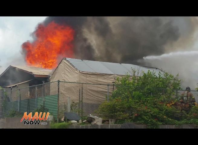 Kea Street home fire in Kahului. Photo credit Malcom Fujita.