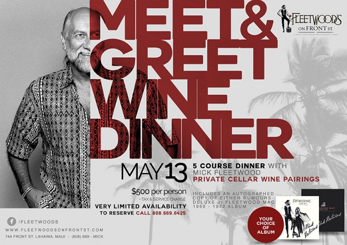 Intimate dinner with Mick Fleetwood on Wednesday, May 13th. Five courses paired with wine and a very tall dinner guest at your table. Rooftop live music starts at 7 p.m., performed by The Houseshakers.