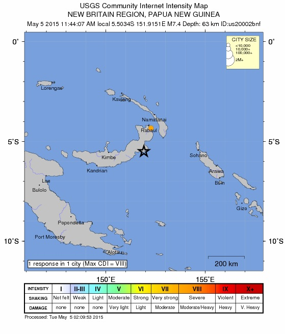 Map of Papua New guinea quake region, May 4, 2015, courtesy USGS.