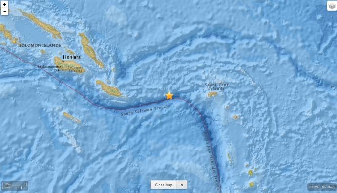 Solomon Islands earthquake, 5.20.15, map courtesy USGS.