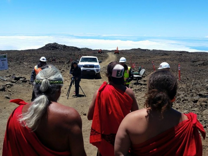Mauna Kea demonstration, 6.24.15. Photo credit: Andre Perez.
