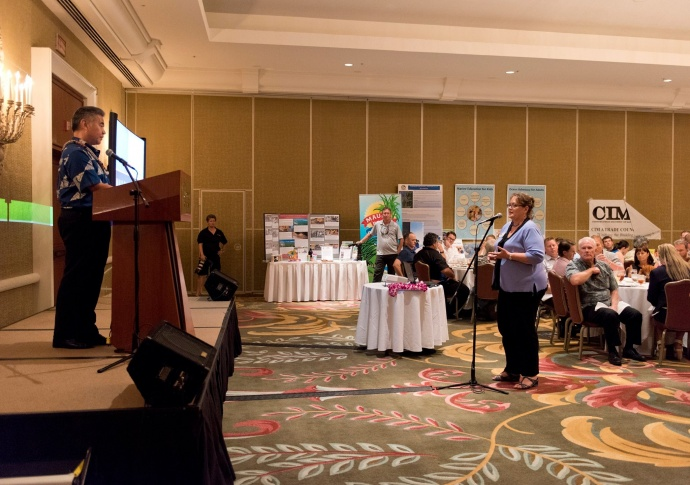 Mayor's Office of Economic Development Director Teena Rasmussen asking Governor David Ige a question during a Q&A portion of the Maui Chamber of Commerce Board Installation Luncheon at The Fairmont Kea Lani. (6.26.2015)  Photo credit: County of Maui.