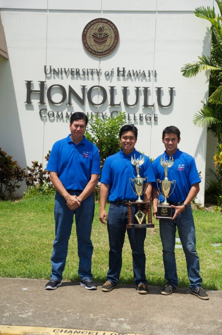The winners of the Hawaii hands-on state contest are instructor Shannon Rowe and students David Casayuran and Joseph Burger.  Courtesy photo: Ford/AAA Student Auto Skills Competition.