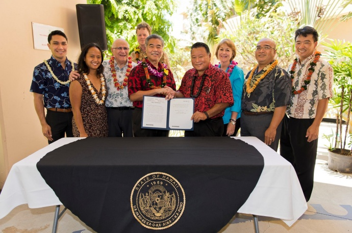 Bill signing ceremony at Maui Memorial Medical Center. (06.10.15) Photo credit: Ryan Piros/County of Maui.