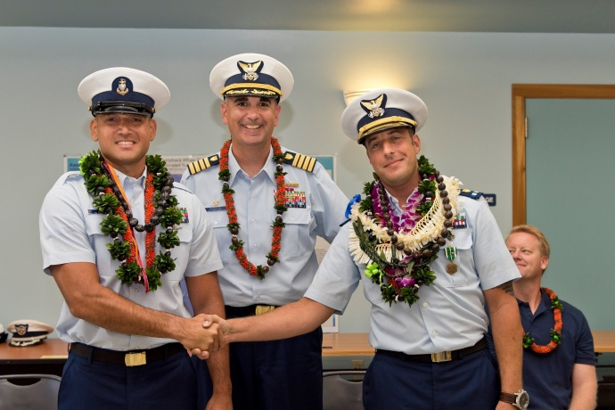 United States Coast Guard Station Maui Hawaii Change of Command Ceremony at which Chief Warrant Officer Erin M. Stapleton was relieved by Chief Boatswains Mate Ekahi P. Lee. (6.8.2015)