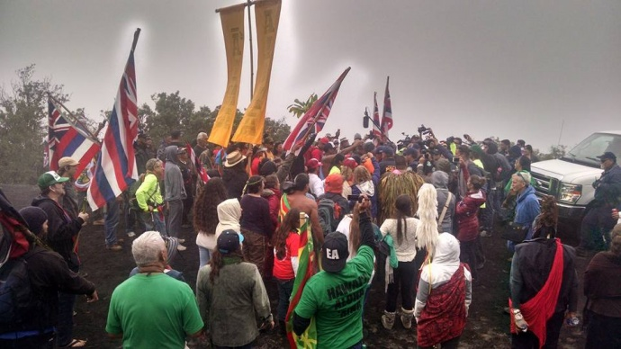 Mauna Kea demonstration, 6.24.15. Photo credit: Walter Ritte.