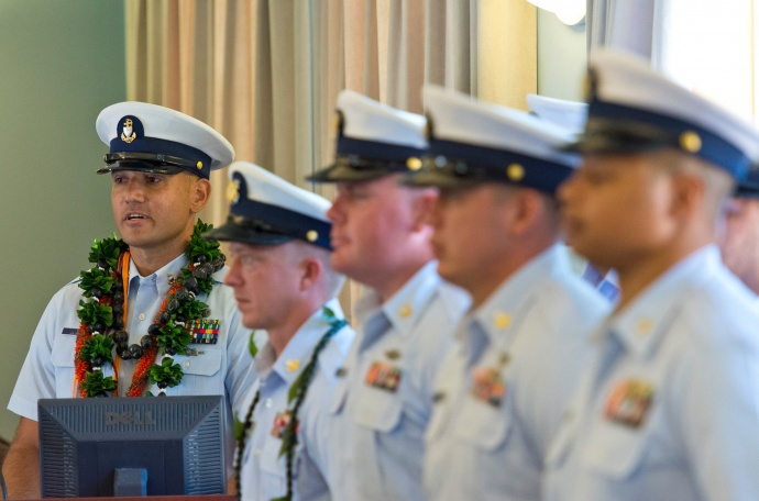 The New Officer in Charge of U.S. Coast Guard Station Maui Chief Boatswains Mate Ekahi P. Lee speaking during the Change of Command Ceremony. (6.8.2015)