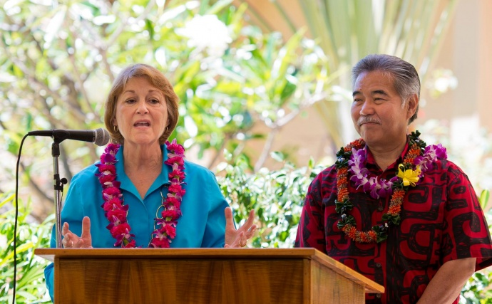 Maui Senator Roz Baker (left) with Governor David Ige (rt) at today's bill signing ceremony at the Maui Memorial Medical Center. (06.10.15) Photo credit: Ryan Piros/County of Maui.
