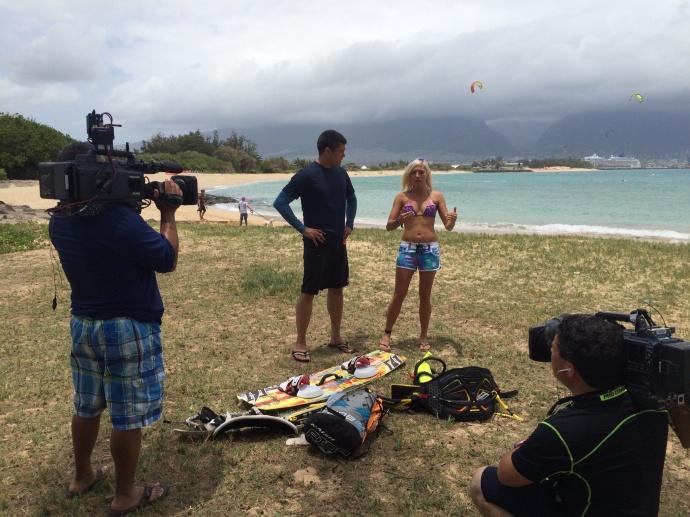 Carl Quintanilla kiteboarding lesson with Susi Mai. Courtesy photo.