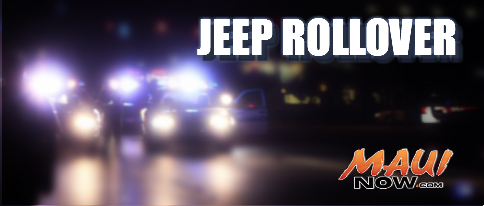Jeep rollover Maui Now graphic.