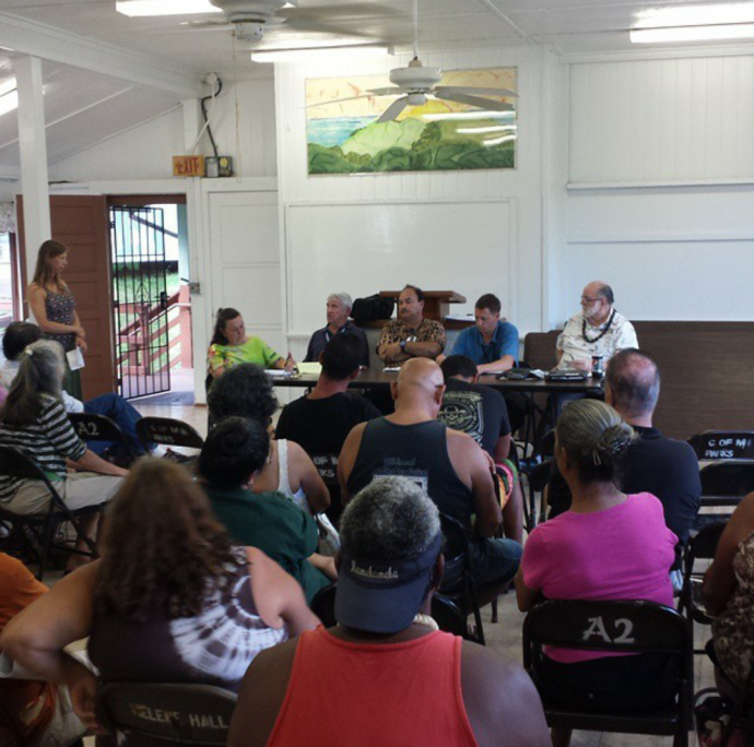 Representatives from the state DOT Airports Division and the FAA are on hand to respond to community concerns about the proposed Skydive Hana operation in East Maui. Photo credit: Kapena Kalama.