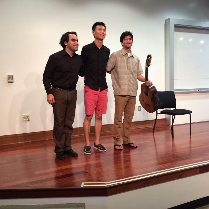 Arash Noori, Ray Zhou and Ian O'Sullivan stand to take a bow at last year's free concert at UH Maui College. Courtesy photo.