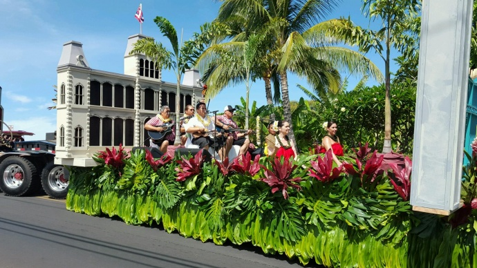 In honor of King Kamehameha, guests and associates of Starwood Maui today presented an 'Iolani Palace-inspired float at the Nā Kamehameha Pā'ū Parade and Ho'olaule'a in Lāhainā. Courtesy photo.