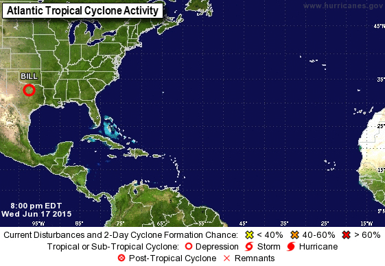 Tropical Depression Bill. Image courtesy National Weather Service/National Hurricane Center.
