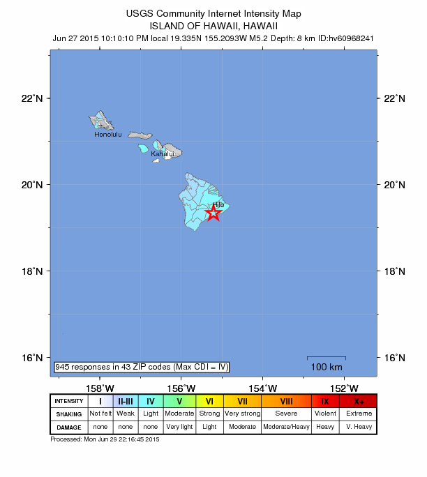 Hawaiʻi Island earthquake, June 27, 2015, 10:10 p.m. HST. Intensity Map Image courtesy USGS.