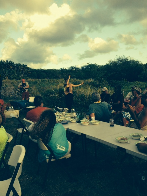 Bourdain has a meal with Community members of the Island of Molokai, including outspoken activist, Walter Ritte.  This photo was taken during Bourdain's Molokai visit. Copyright:(c) 2015. Photo credit: Guy Naehu.