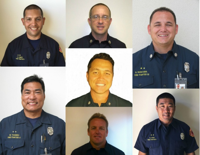 Promotions for Fire Captains Kaulana Kino, Sean Simon, and Firefighter III, Wayne Tashiro, took effect May 16, 2015. Promotions for Firefighter III's Maroe Smith, Parrish Purdy, Greg Shinyama, and Garren Oura was effective May 1, 2015. Courtesy photos.