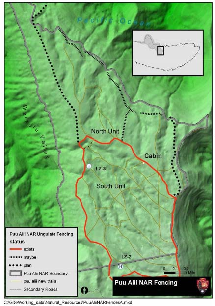 Map of Proposed and Existing Fencing, Pu'u Ali'i NAR. Image courtesy DLNR, final EA document.