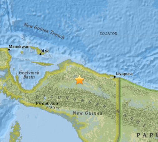 Indonesia quake map 7/27/15, courtesy USGS.