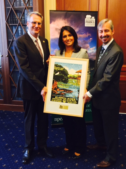 Rep. Tulsi Gabbard (HI-02) was recognized as a Friend of the National Parks by NPCA President and CEO Clark Bunting (left) and NPCA Senior Vice President of Government Affairs Craig Obey (right).