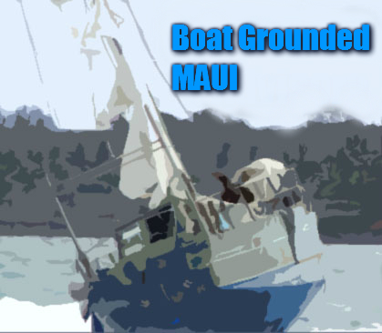 Boat Grounded, Maui. Graphic by Wendy Osher/Maui Now.