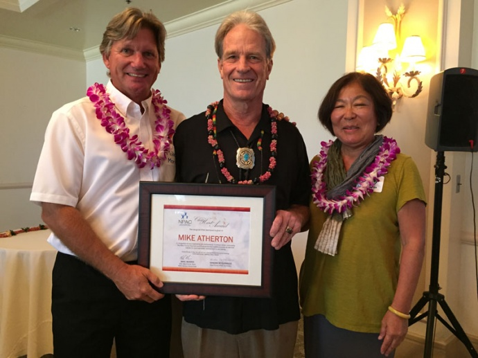 (Left to right) Mike Morris, Mike Atherton, and Sandy McGuinness at the presentation of the inaugural Chris Hart Award. Atherton accepted the award.